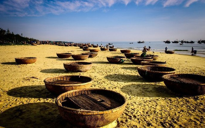Basket boats in Da Nang Vietnam