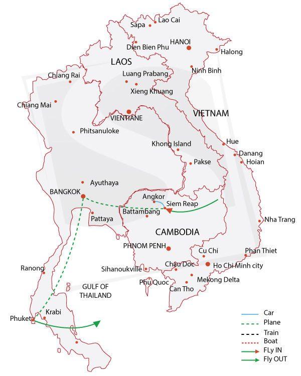 cambodia and thailand tours luxury journey cambodia thailand Thailand Map detailed itinerary