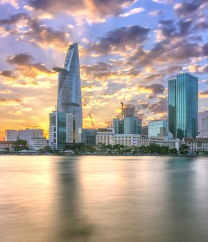 Sunset Saigon river bank