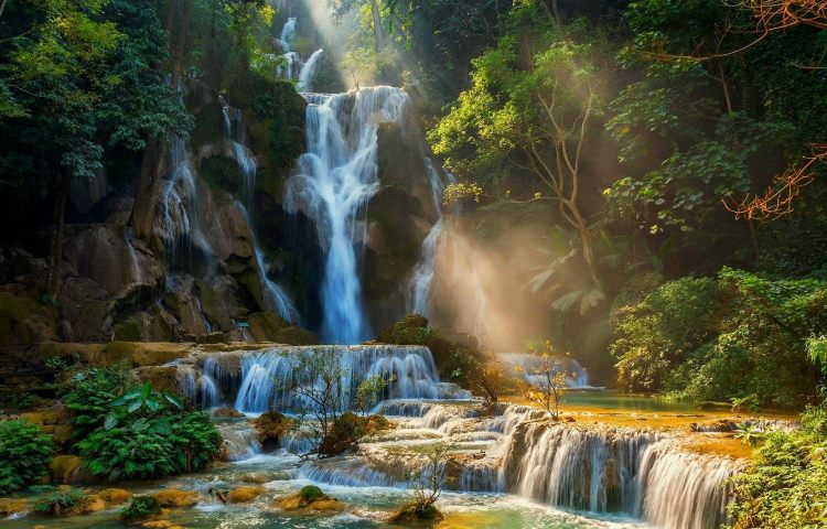 waterfall-sun-rays-Laos